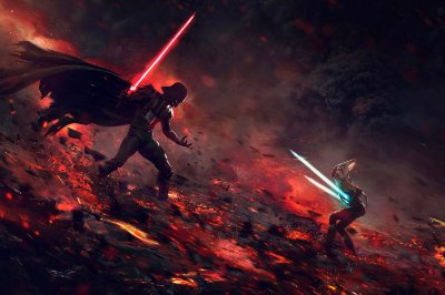 Quadro Star Wars - Darth Vader e Ahsoka Tano