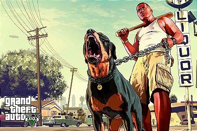 Quadro Gamer GTA - Franklin e Cachorro