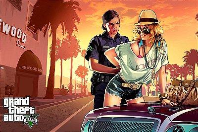 Quadro Gamer GTA V - Loira e Policial