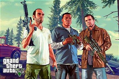 Quadro Gamer GTA V - Franklin, Michael e Trevor
