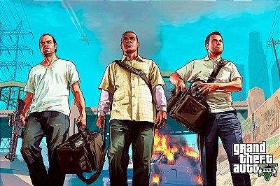 Quadro Gamer GTA V - Franklin, Michael e Trevor 2