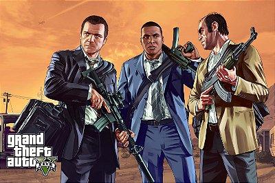Quadro Gamer GTA V - Franklin, Michael e Trevor 4