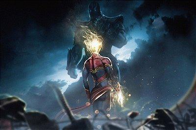 Quadro Vingadores - Capitã Marvel vs Thanos