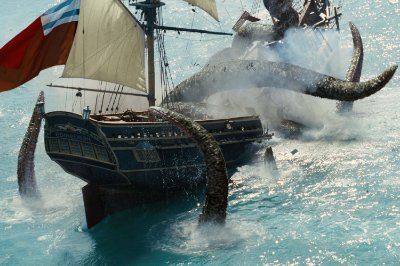 Quadro Piratas do Caribe - Kraken e Navio