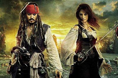 Quadro Piratas do Caribe - Jack e Elizabeth