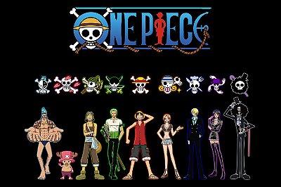 Quadro One Piece - Símbolos Piratas do Chapéus de Palha