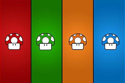Quadro Gamer Mario - Cogumelos