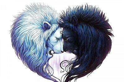 Quadro Leão - Sol e Lua