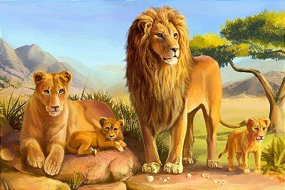 Quadro Leão - Família de Leões