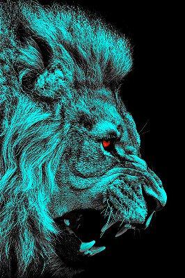 Quadro Leão - Azul
