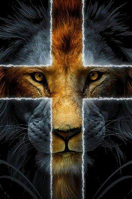 Quadro Leão de Judá - Cruz