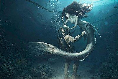 Quadro Mar - O Mergulhador e a Sereia