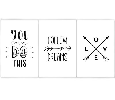 Kit 3 Quadros Follow Your Dreams