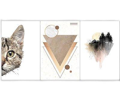 Kit 3 Quadros Decorativos Escandinavos - Gato Triângulo Montanha