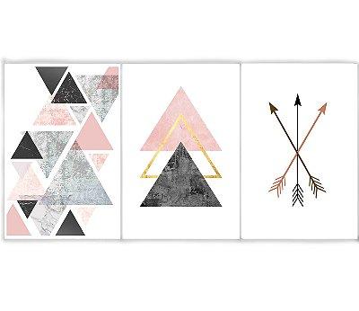 Kit 3 Quadros Decorativos Escandinavos - Triângulos e Flechas
