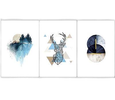 Kit 3 Quadros Decorativos Escandinavos - Montanha Cervo e Lua