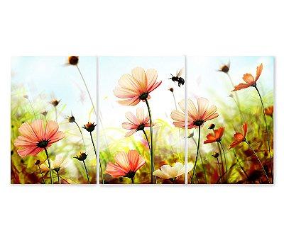 3 Quadros Decorativos Divididos - Flores