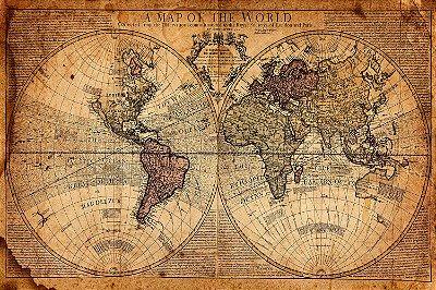 Quadro Mapa Mundi - Mundo Antigo