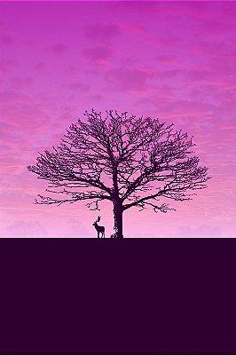 Quadro Decorativo - Árvore Roxa