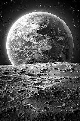 Quadro Universo - Planeta Terra Preto e Branco