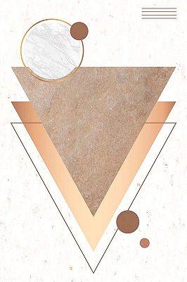 Quadro Minimalista - Triângulos Dourados