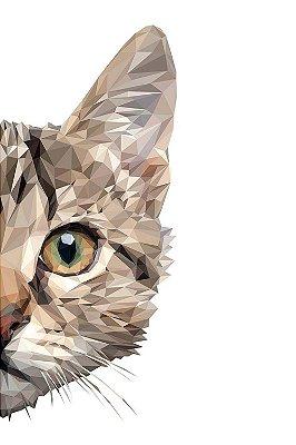 Quadro Minimalista - Gato Geométrico