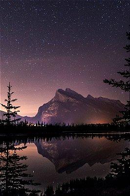 Quadro Paisagem - Noite no Lago