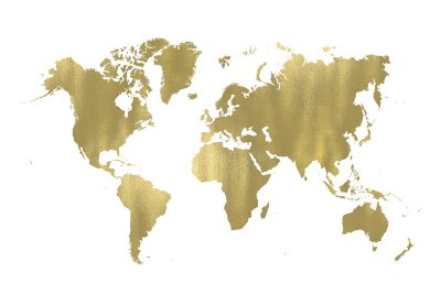 Quadro Mapa Mundi - Dourado
