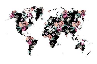 Quadro Mapa Mundi - Florido