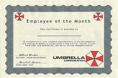 Quadro Gamer Resident Evil -  Umbrella Certificado