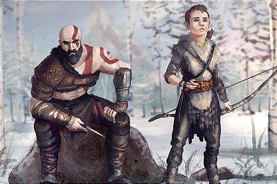 Quadro Gamer God of War - Kratos e Atreus Artístico