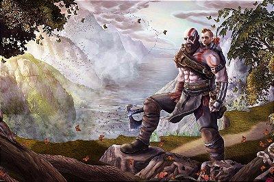 Quadro Gamer God of War - Kratos e Atreus Artístico 2