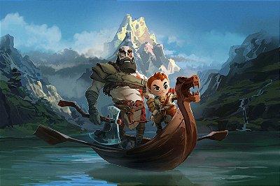 Quadro Gamer God of War - Kratos e Atreus Artístico 4