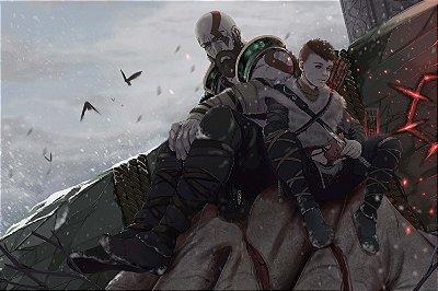 Quadro Gamer God of War - Kratos e Atreus Artístico 5