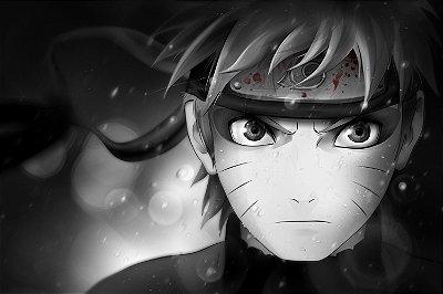 Quadro Naruto - Modo Sábio Preto e Branco