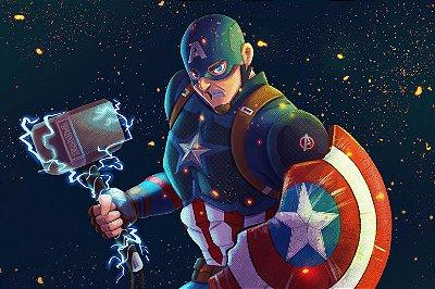 Quadro Capitão América - Martelo Mjolnir