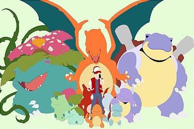 Quadro Pokémon - Evolução dos Pokémons Ash 2