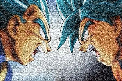 Quadro Dragon Ball - Goku e Vegeta Saiyajin Azul