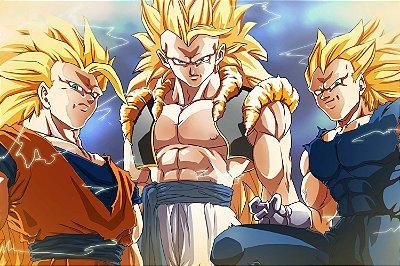 Quadro Dragon Ball - Goku e Vegeta Super Saiyajin 3