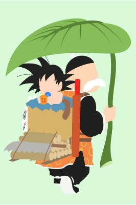 Quadro Dragon Ball - Goku e Vovô Gohan Minimalista