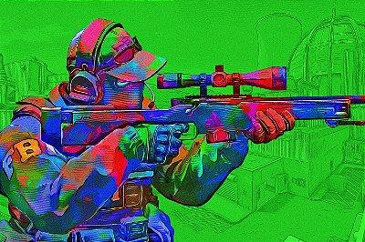 Quadro Gamer - Counter Strike Sniper Artístico