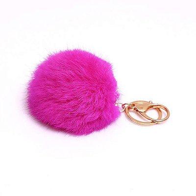 Chaveiro Pompom Rosa Pink