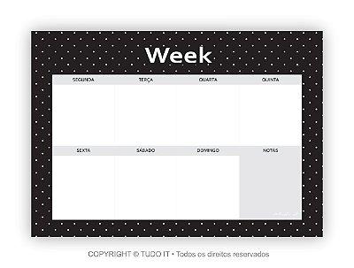Planner de mesa semanal poá white