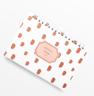 Planner Anual Poá Rose Gold