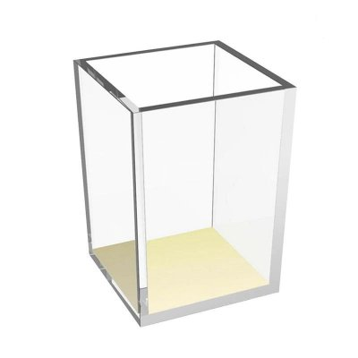 Porta lápis transparente acrílico dourado