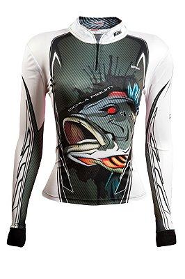 Camisa de Pesca Feminina Brk Cichla Branca com fps 50+