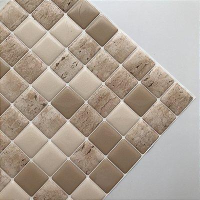 Pastilha Adesiva Resinada MÁRMORE TRAVERTINO 28 x 28 cm
