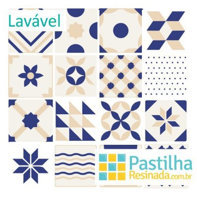 Azulejo Adesivo Mediterrâneo Kit 18 peças