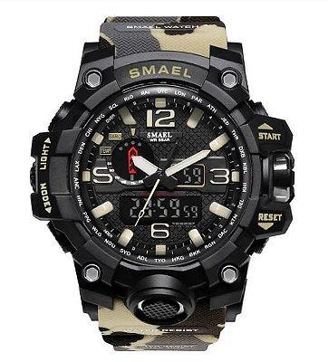 Relógio Militar Smael 1545 Camuflado Bege