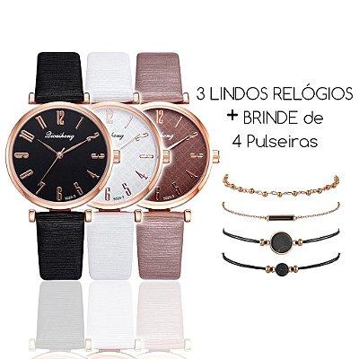 KIT: 3 relógios Elle Lux (3 cores) + 4 Pulseiras